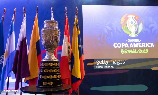 The Copa America Trophy is displayed during a meeting between representatives of the twelve nations who will take part in the 2019 Copa America...