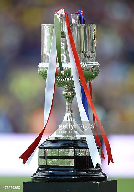 The Copa del Rey trophy is pictured prior to the Spanish Copa del Rey final football match Athletic Club Bilbao vs FC Barcelona at the Camp Nou...