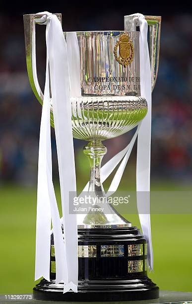 The Copa del Rey trophy is seen before the La Liga match between Real Madrid and Real Zaragoza at Estadio Santiago Bernabeu on April 30 2011 in...