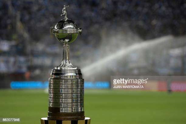 The Copa Libertadores 2017 trophy is seen before the start of the final football match between Argentina's Lanus and Brazil's Gremio at Lanus stadium...