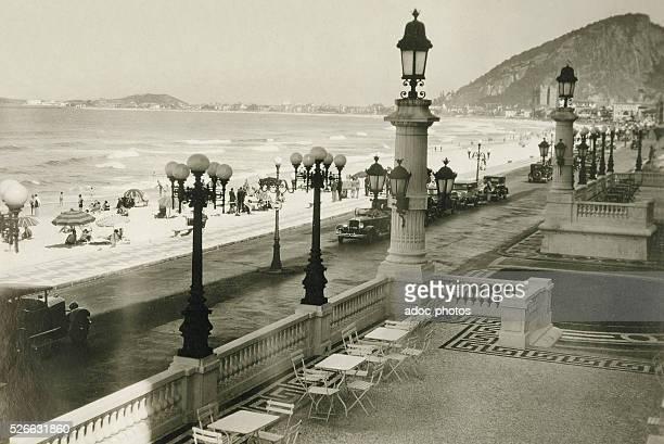 The Copacabana beach in Rio de Janeiro . Ca. 1930.