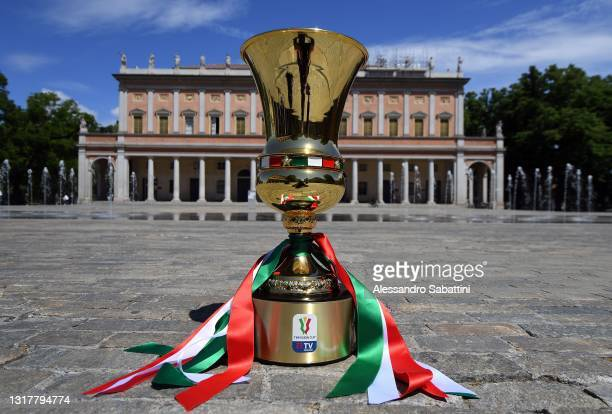 The Coppa Italia is pictured during a press conference to present the Coppa Italia Final between Atalanta BC and Juventus at Sala del Tricolore on...