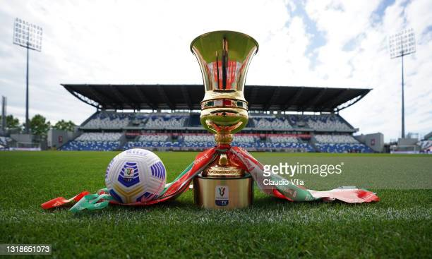 The Coppa Italia is seen before the TIMVISION Cup Final between Atalanta BC and Juventus at Mapei Stadium on May 18, 2021 in Reggio nell'Emilia,...