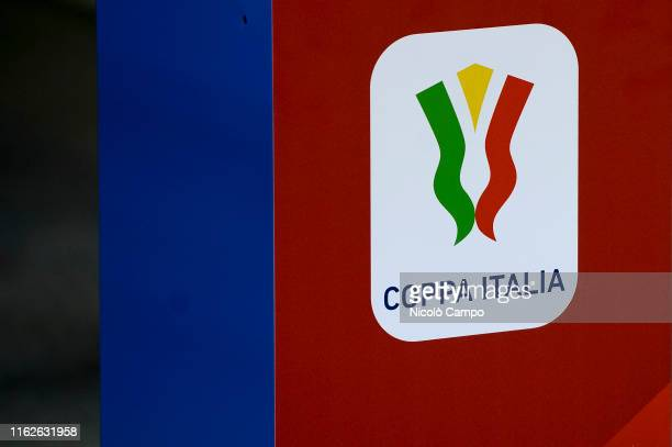 The Coppa Italia logo is pictured prior to the Coppa Italia football match between US Sassuolo and Spezia Calcio. US Sassuolo won 1-0 over Spezia...
