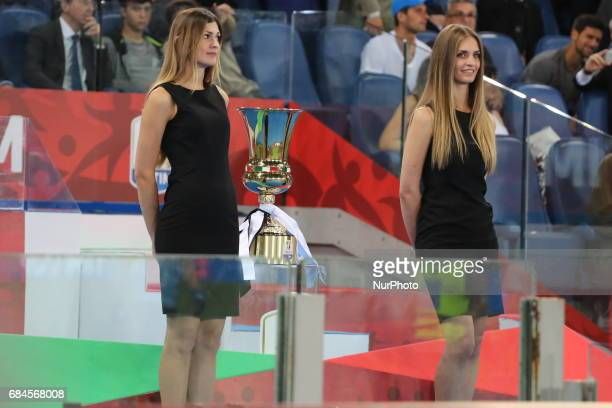 The Coppa Italia trophy arrived at its seventies edition before the final between Juventus FC and SS Lazio at Olympic Stadium on may 17 2017 in Rome...