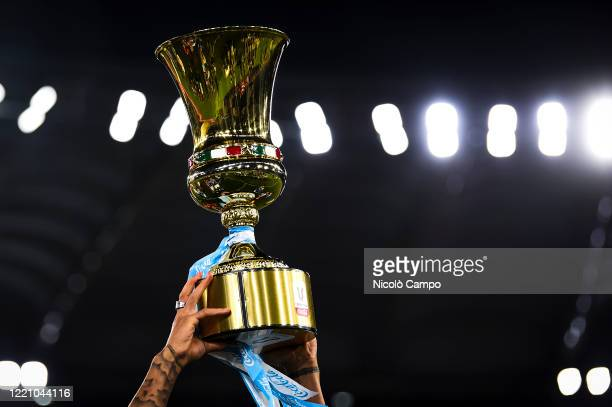 The Coppa Italia trophy is lifted during the awards ceremony at end of the Coppa Italia final football match between SSC Napoli and Juventus FC. SSC...