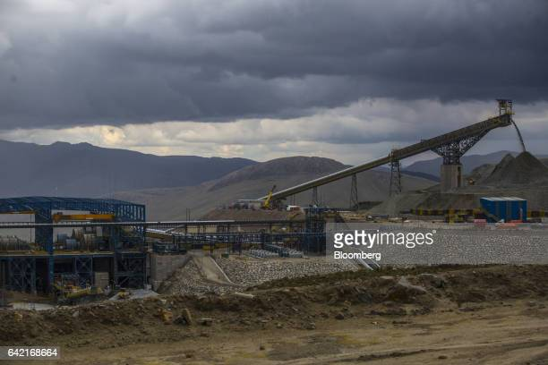 The copper concentration plant and the mineral stockpile stand at the Ferrobamba pit one of the three pits that will be mined by MMG Ltd's Las Bambas...
