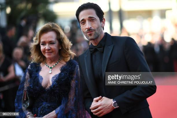 The coPresident of Chopard Caroline Scheufele and US actor Adrien Brody arrive on May 19 2018 for the closing ceremony and the screening of the film...