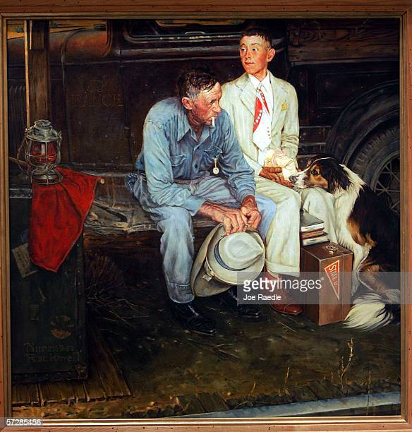 The copy of Norman Rockwell's painting entitled Breaking Home Ties which has been hanging on display in the Norman Rockwell Museum is seen on April 7...