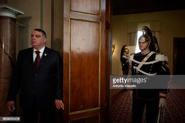 The Corazzieri stand guard during a new day of meetings between Italian President Sergio Mattarella and political parties on formation of the new...