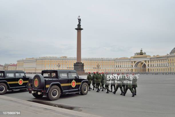 The cordon at the Palace square in preparation for victory parad