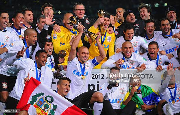 The Corinthians squad celebrate after winning the FIFA Club World Cup Final Match between Corinthians and Chelsea at the International Stadium...