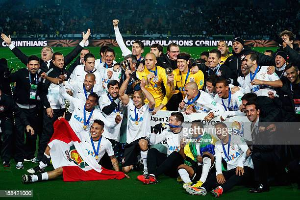 The Corinthians squad celebrate after winning the FIFA Club World Cup Final Match between Corinthians and Chelsea at International Stadium Yokohama...