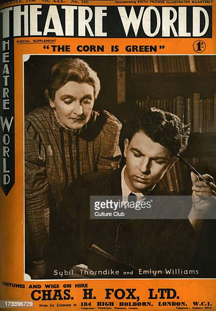 'The Corn is Green' with Sybil Thorndike and Emlyn Williams and written by Emlyn Williams at Duchess Theatre on the cover of Theatre World November...