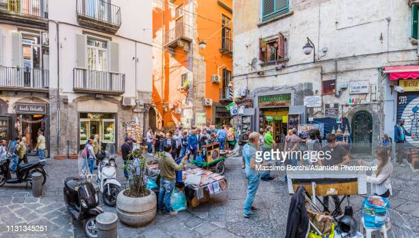 the corner between via san gregorio armeno and via san biagio dei librai - italy stock pictures, royalty-free photos & images