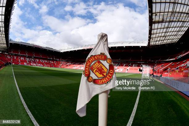 The corner flag at Old Trafford before the Premier League match between Manchester United and Everton at Old Trafford on September 17 2017 in...