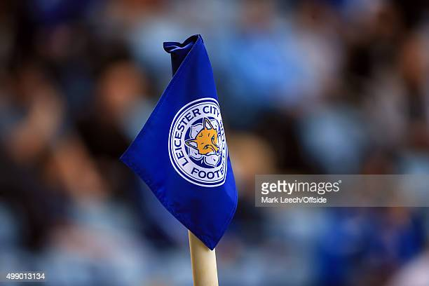 The corner flag displays the Leicester City club crest during the Barclays Premier League match between Leicester City and Arsenal at the King Power...