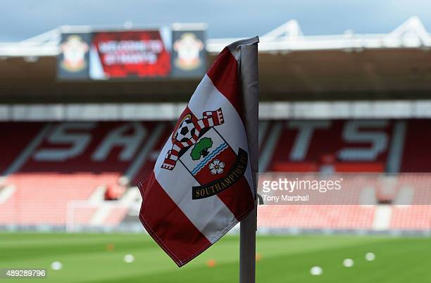The corner flag is seen ahead of the Barclays Premier League match between Southampton and Manchester United at St Mary's Stadium on September 20...