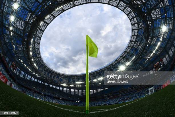 TOPSHOT The corner flag is seen before the Russia 2018 World Cup round of 16 football match between Croatia and Denmark at the Nizhny Novgorod...