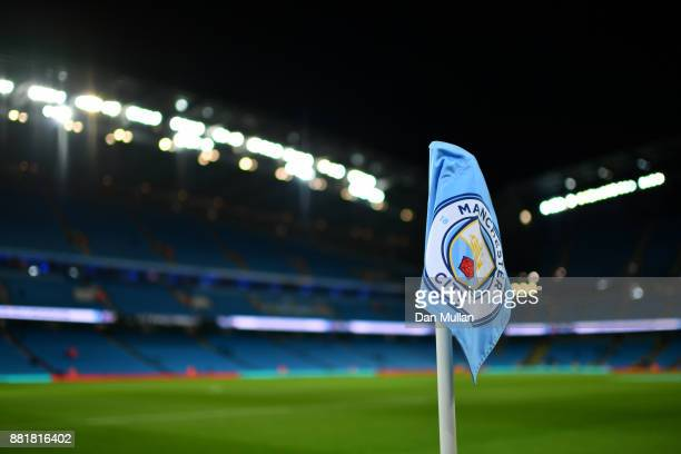 The corner flag is seen inside the stadium prior to the Premier League match between Manchester City and Southampton at Etihad Stadium on November 29...