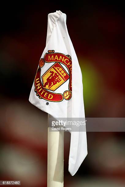 The corner flag prior to kick off during the EFL Cup fourth round match between Manchester United and Manchester City at Old Trafford on October 26...
