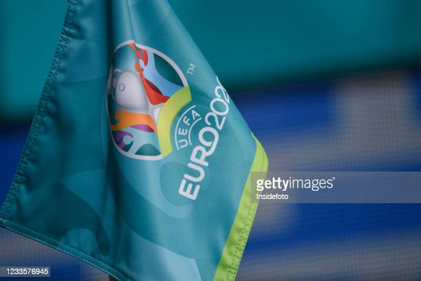 The corner flag with Euro2020 logo is seen during the Uefa Euro 2020 Group A football match between Italy and Wales. Italy won 1-0 over Wales. Both...