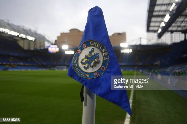 The Corner flag with the Chelsea badge / crest during the Premier League match between Chelsea and Arsenal at Stamford Bridge on February 4 2017 in...