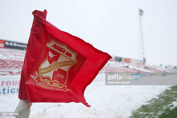 The corner flag with the Swindon Town crest on at The County Ground Stadium, home of Swindon Town