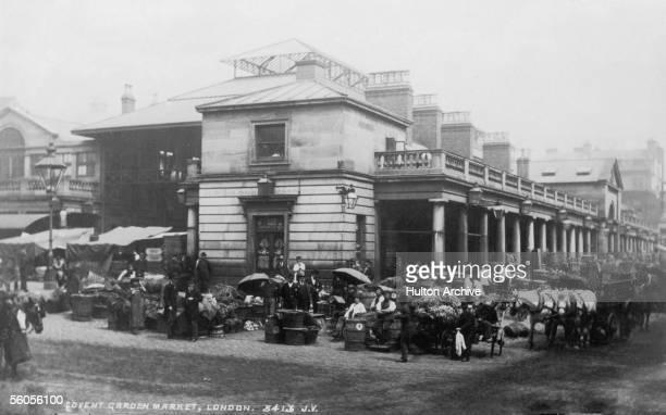 The corner of Covent Garden market in London, circa 1890.
