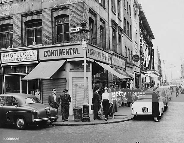 The corner of Frith Street Soho London circa 1955