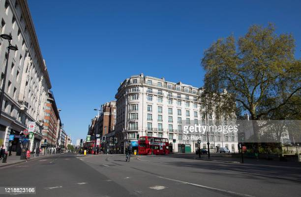 The corner of Oxford Street and Park Lane is seen empty on April 14, 2020 in London, United Kingdom. The Coronavirus pandemic has spread to many...