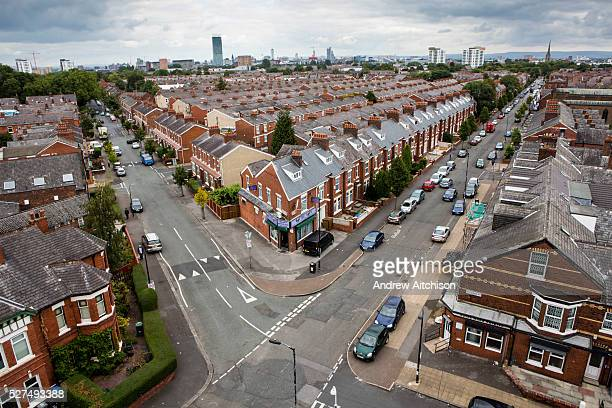 The corner of St John's road and Ayers road from the top of St John's Church Trafford Manchester Greater Manchester