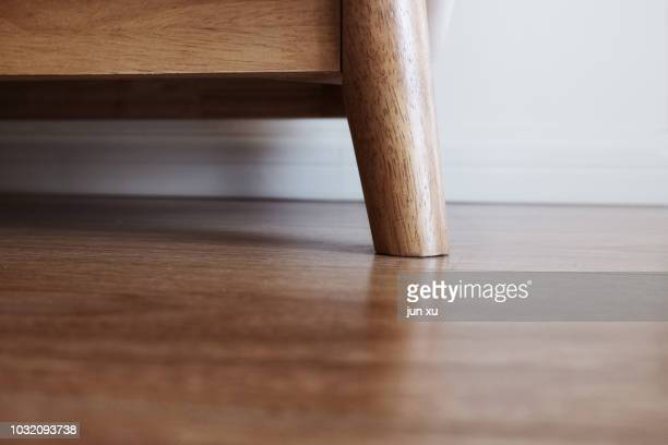 The corner of the sofa on the wood floor