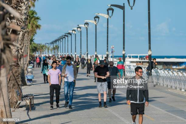 the corniche, a popular place for walking, exercise and fishing, beirut, lebanon - beirut stock pictures, royalty-free photos & images