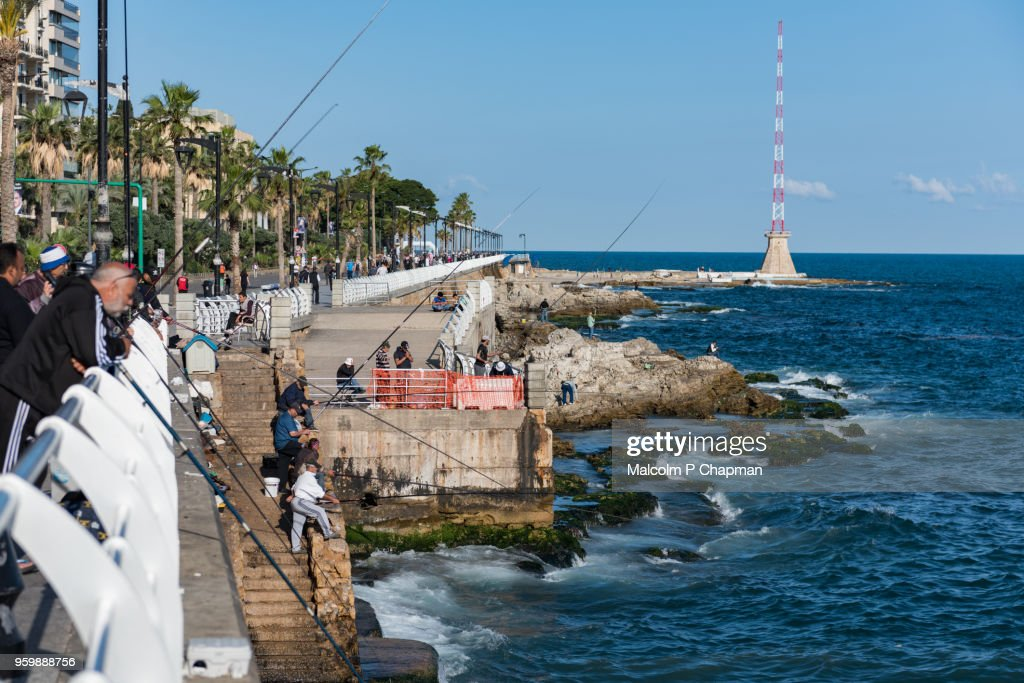 The Corniche, a popular place for walking, exercise and fishing, Beirut, Lebanon : Stock-Foto