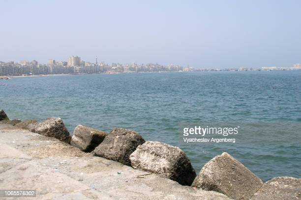 the corniche of alexandria, mediterranean sea, egypt - argenberg stock pictures, royalty-free photos & images