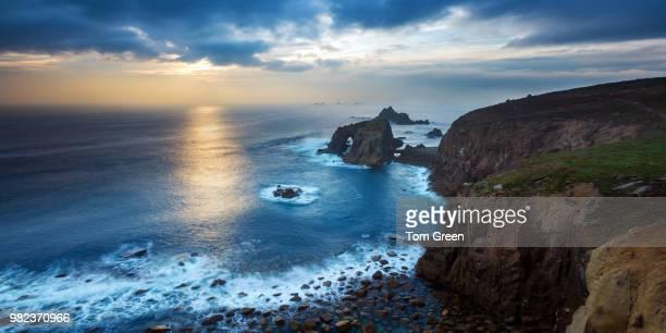 The Cornish headland at sunset, Cornwall, England, UK