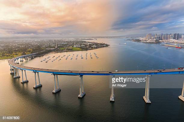 The Coronado Bridge At Dusk From Above