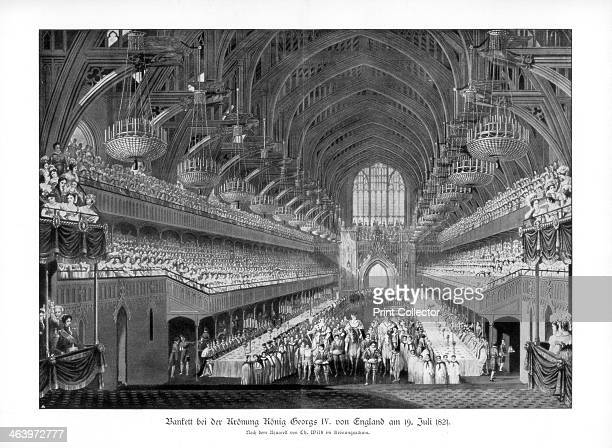 The coronation banquet of George IV at Westminster Hall London 19 July 1821 George IV succeeded his father George III having previously ruled as...