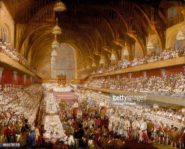 'The Coronation Banquet of King George IV in Westminster Hall' 1821 The two rows of tables on either side of the Hall were occupied by peers The...