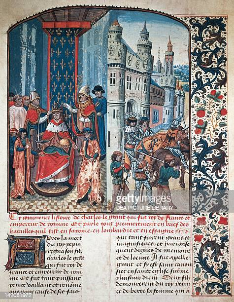 The coronation of Charlemagne miniature from Flower of Chronicles by Jean Mansel medieval manuscript14591463 France