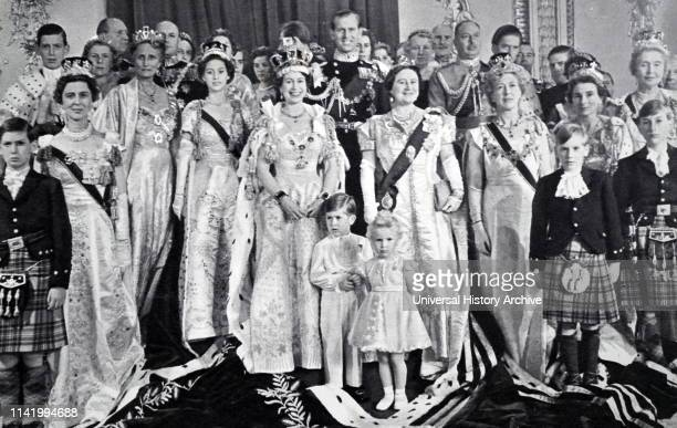 The coronation of Elizabeth II of the United Kingdom, took place on 2 June 1953 at Westminster Abbey, London. Family group at Buckingham Palace....