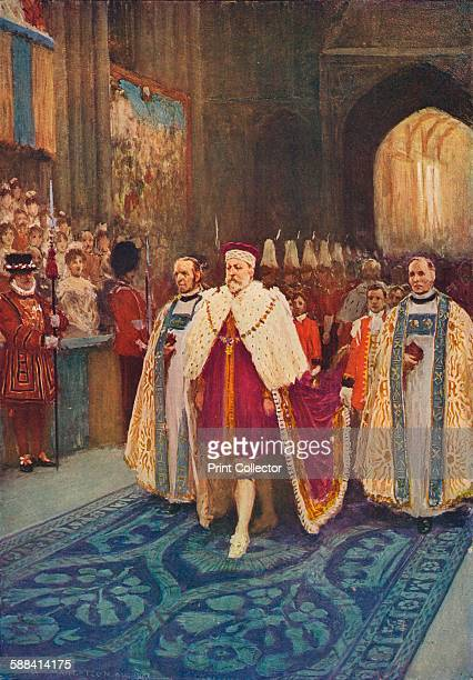 The Coronation of King Edward VII and Queen Alexandra, 1902 . The King's procession entering Westminster Abbey. From Cassell's History of England,...