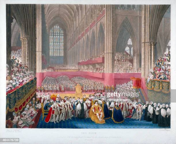 The coronation of King George IV in Westminster Abbey London 19th July 1821 In the foreground the Archbishop of Canterbury is crowning the king who...