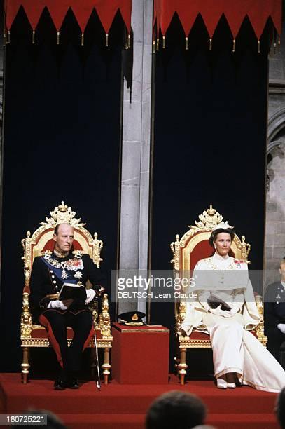 The Coronation Of King Harald V And Queen Sonja Of Norway Norvge Cathdrale de Nidaros Trodheim Juin 1991Lors du sacre du Roi HARALD V et de la reine...