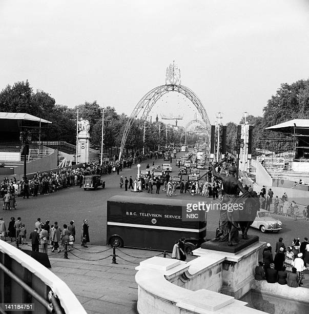 NBC NEWS 'The Coronation of Queen Elizabeth II' Pictured Spectators gather on The Mall outisde of Buckingham Palace during the coronation of Queen...
