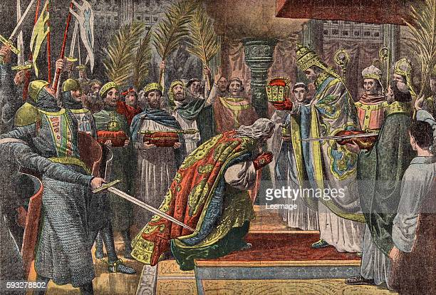 The coronation of the emperor Charlemagne also known as Charles The Great in Roma the 25th of december 800 by the pope Leo III engraving