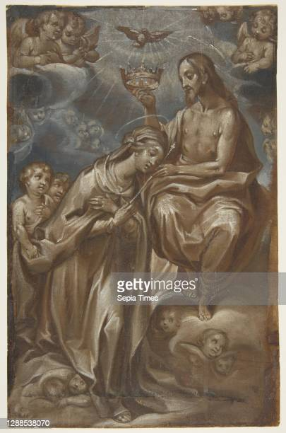 The Coronation of the Virgin Brown, gray-blue and white tempera on paper, 11-1/8 x 7-3/16 in. , Drawings, Francesco Vanni .