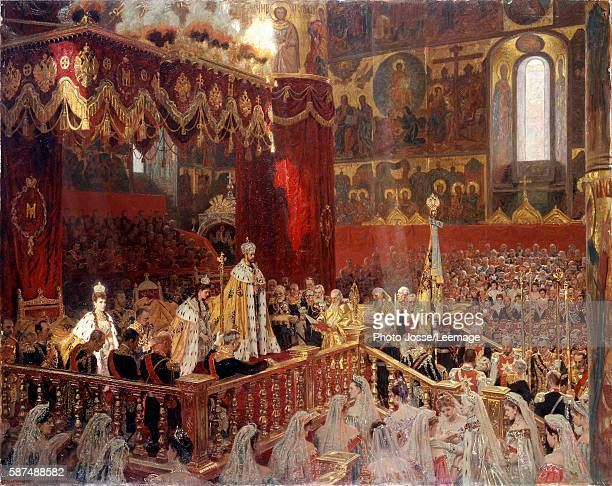 The Coronation of Tsar Nicholas II at the Church of the Assumption Moscow 14th may 1896 Painting by an anonymous artist oil on canvas 1896 Peterhof...