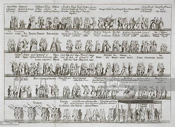 The coronation procession of King George II, October 1727, . The various members of the royal procession are shown in five strips with text...